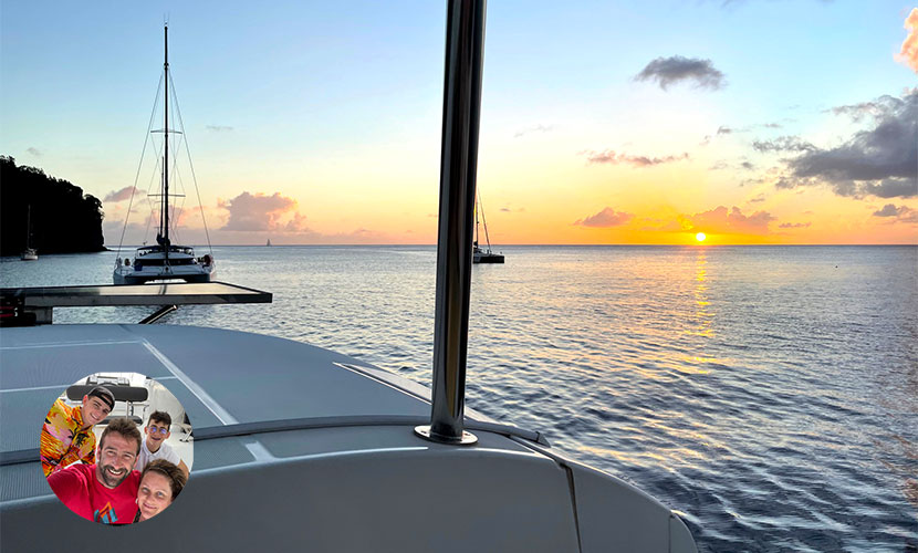 catamaran coucher de soleil en Martinique