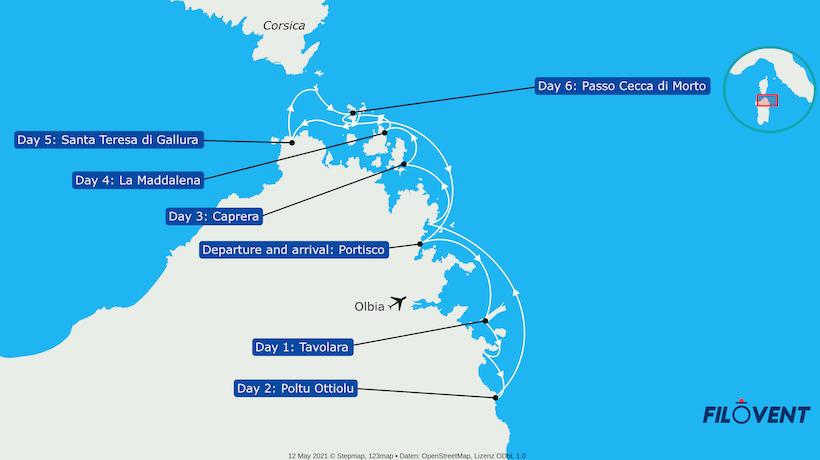 mappa dell'itinerario di navigazione