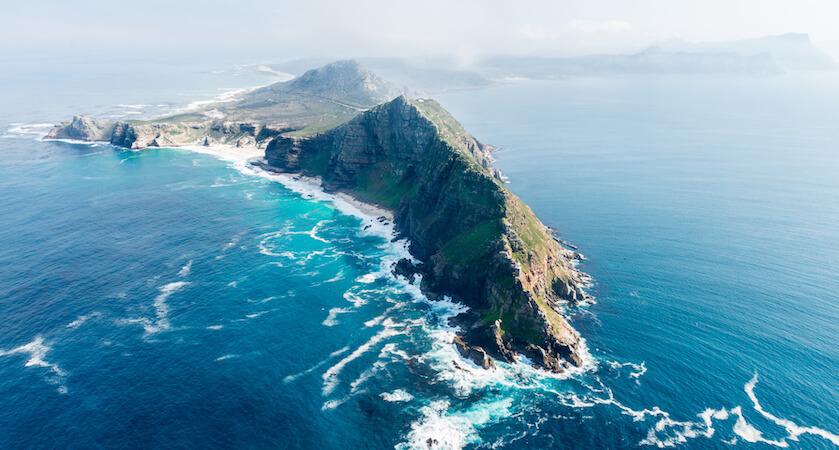 Vue sur le Cap de Bonne-Espérance, à l'extrémité Sud de l'Afrique