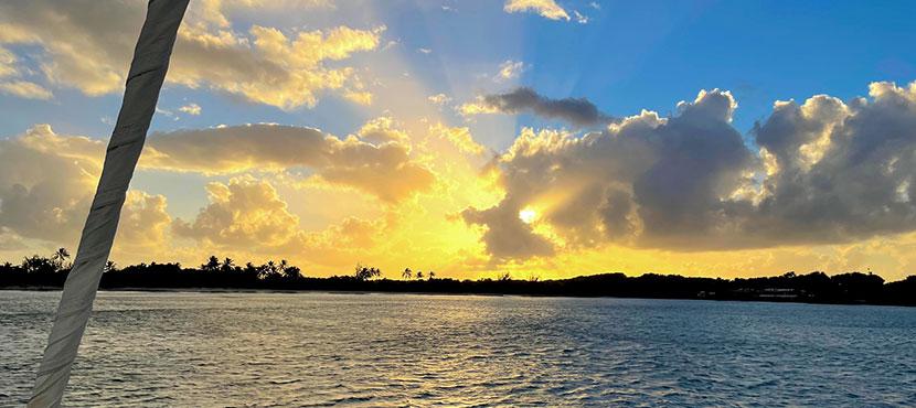 sunset sur la plage des Salines
