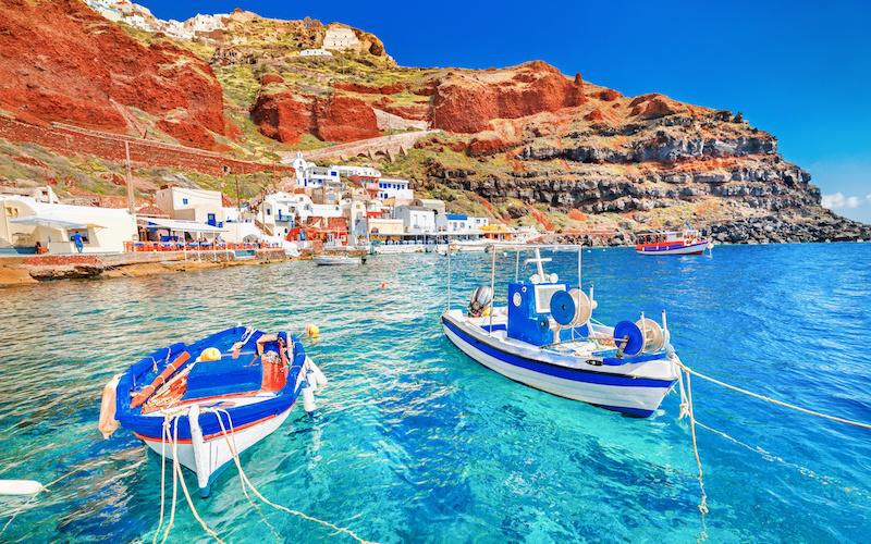 Port Ammoudi à Santorin dans les Cyclades